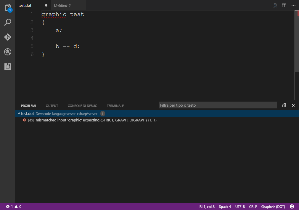 How Visual Studio Code shows an error