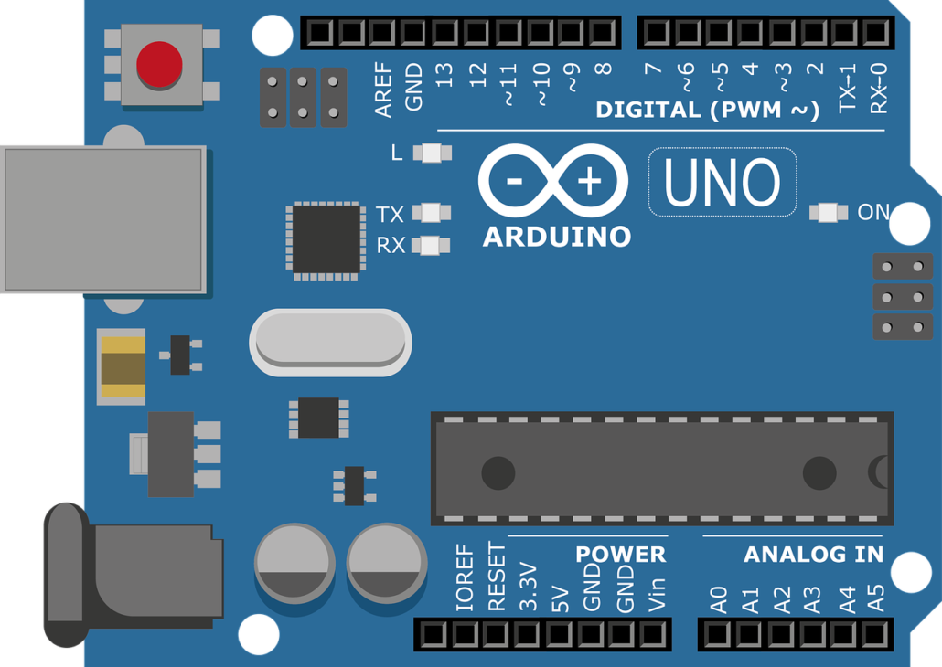 An vector graphics image of an arduino board