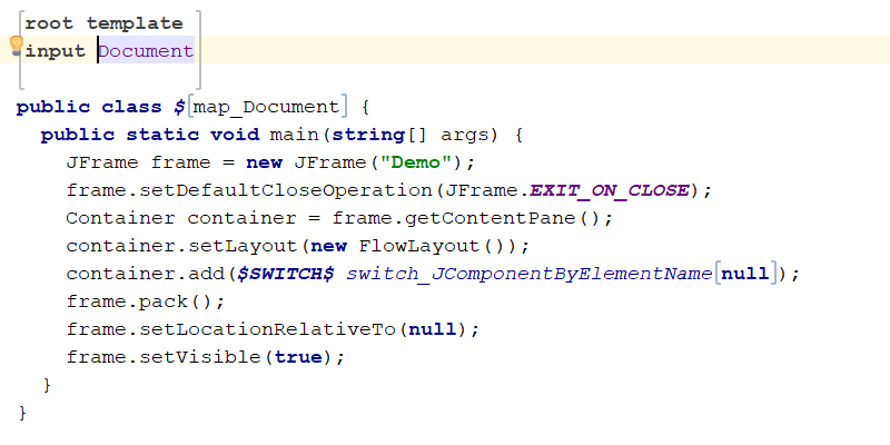 A template for code generation in MPS