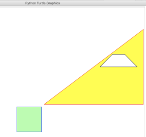 A sample scene generated with the Turtle language. There's a big yellow triangle with a smaller white trapezium inside, and a smaller light green square just in front and slightly below the triangle.