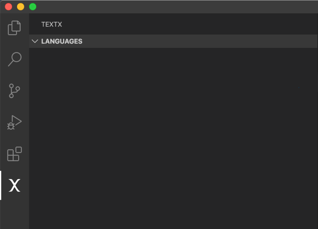 Empty VSCode panel for textX languages