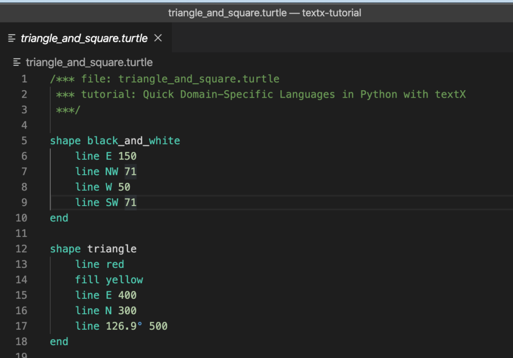 A portion of a VSCode editing panel with syntax-colored Turtle code