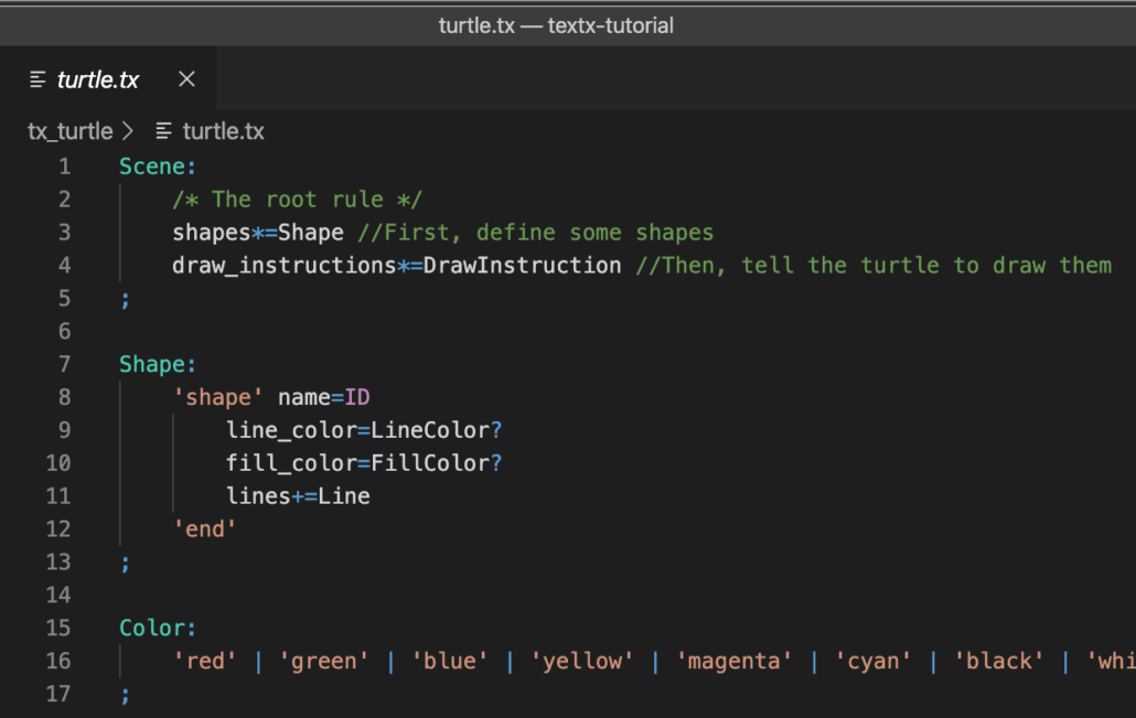 Sample content of the file turtle.tx in Visual Studio Code